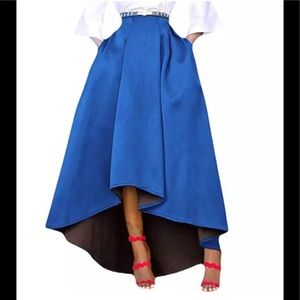Beautiful Blue Long High-Low Skirt sz xl